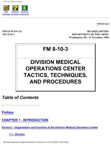 Division Medical Operations Center Tactics, Techniques - Brookside ...