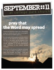 pray that the Word may spread - College Park Church