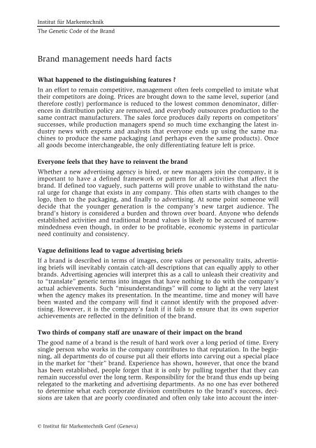 The Genetic Code of the Brand - Institut für Markentechnik Genf
