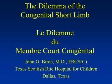 Congenital Short limb - CHU Sainte-Justine - SAAC