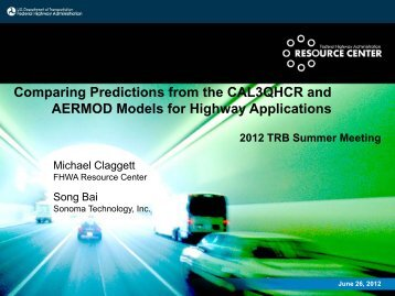 Comparing Predictions from the CAL3QHCR and AERMOD Models ...