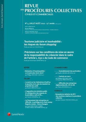 REVUE PROCÉDURES COLLECTIVES - LexisNexis