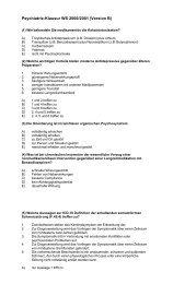 Psychiatrie - Klausur - WS 2000-2001
