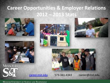 Career Opportunities & Employer Relations 2012 – 2013 Stats