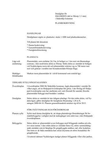 Detaljplan för EKGÅRDEN (del av Ritorp 1:1 mm) - Södertälje kommun