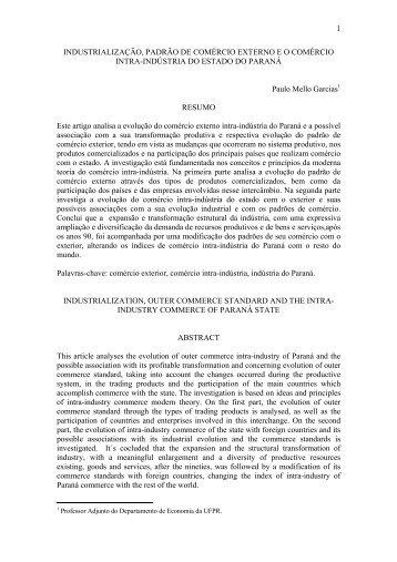 1 INDUSTRIALIZAÇÃO, PADRÃO DE COMÉRCIO EXTERNO E O ...