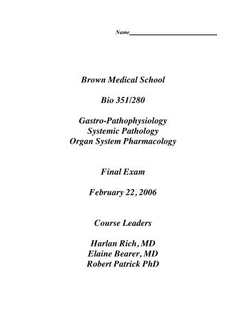 2006 GI exam questions - Alpert Medical School