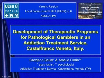 Development Of Therapeutic Programs For Pathological Gamblers