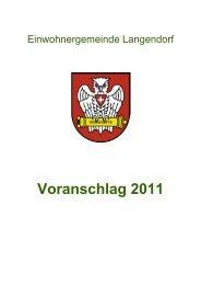 Bericht des Gemeindeverwalters zum Voranschlag 2011 - Langendorf
