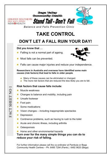 Don't Let a Fall Ruin Your Day - Fact Sheet No 1 - ARCHI