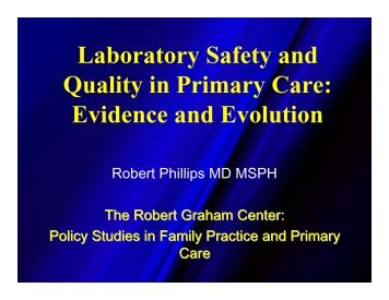Laboratory Safety and Quality in Primary Care: Evidence and ...