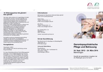 Gerontopsychiatrische Pflege und Betreuung - Bildungsnetzwerk ...
