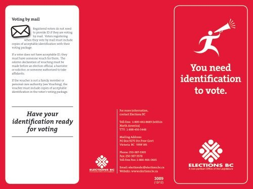 You need identification to vote. - Elections BC
