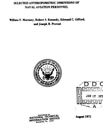Anthropometry Naval aviators 1971