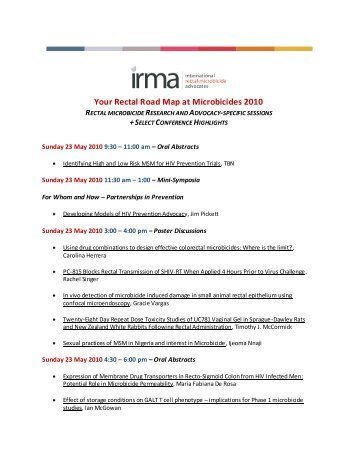 Your Rectal Road Map at Microbicides 2010 - IRMA