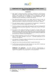 Application for a Private Mobile Radio - Malta Communications ...