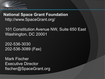 ESMD/Space Grant Project - National Council of NASA Space Grant ...