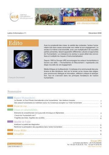 Humanitaires en mouvement n°1 - Groupe URD