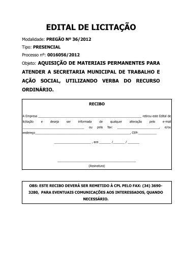EDITAL DE LICITAÇÃO - Governo do Estado de Minas Gerais