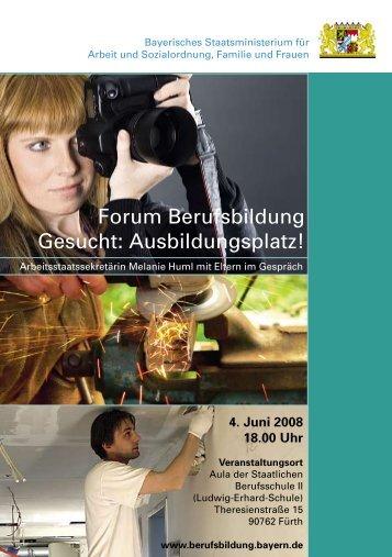 Forum Berufsbildung Gesucht: Ausbildungsplatz!