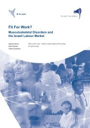 Fit For Work Musculoskeletal Disorders and the Israeli Labour Market