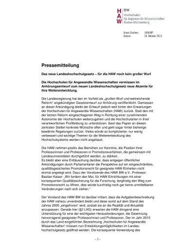 Pressemitteilung - Hochschulen für Angewandte Wissenschaften