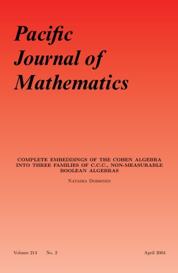 Complete embeddings of the Cohen algebra into ... - Math Department