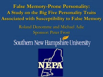 False memory-prone personality - SNHU Academic Archive ...