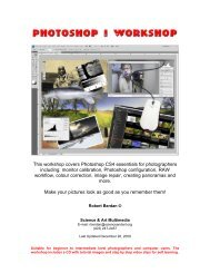 This workshop covers Photoshop CS4 essentials for photographers ...
