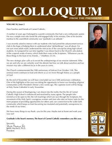Volume 50, Issue 2 - Carmel Catholic High School