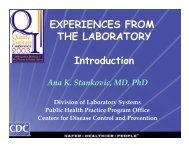 EXPERIENCES FROM THE LABORATORY Introduction