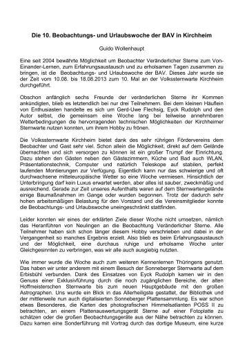 Die 10. Beobachtungs- und Urlaubswoche der BAV in Kirchheim