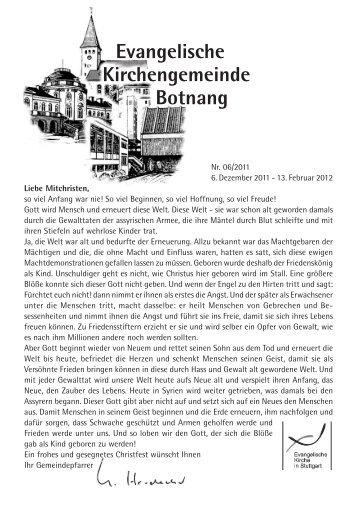 06.Dez. - 13.Feb.2012 - Evangelischen Kirchengemeinde Botnang