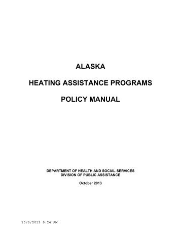 alaska heating assistance programs policy manual - DPAweb ...