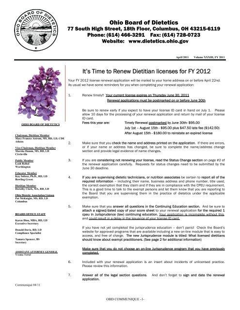 Ohio License Status >> Spring Communique 2011 The Ohio Board Of Dietetics