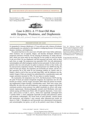 Case 6-2011: A 77-Year-Old Man with Dyspnea, Weakness, and ...