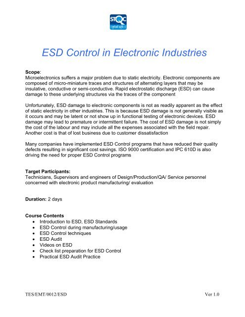 ESD Control in Electronic Industries - STQC