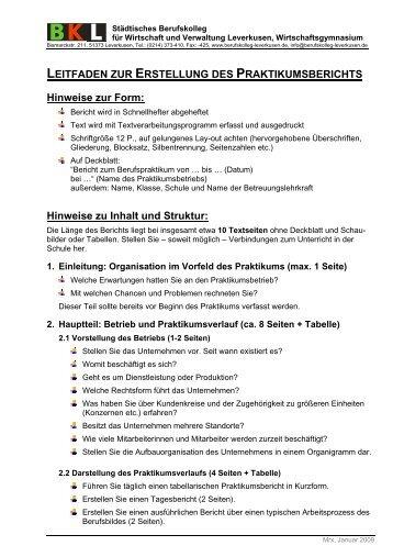 Leitfaden Für Praktikumsberichte Haus Seminar Fachbereich