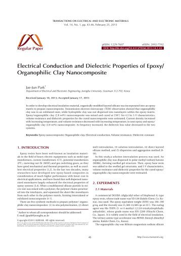 Organophilic Clay Nanocomposite - Transactions on Electrical and ...