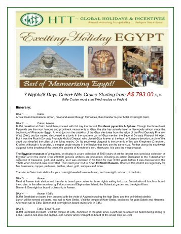 7 Nights/8 Days Cairo+ Nile Cruise Starting from ... - travelwiz.com.au