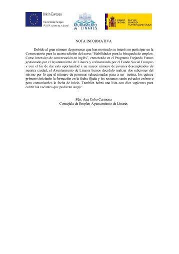 listado alumnos y nota informativa - Ayuntamiento de Linares