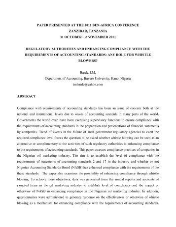 2 NOVEMBER 2011 REGULATORY AUTHORITIES AND - BEN Africa