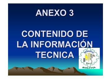 ANEXO 3 CONTENIDO DE LA INFORMACIÓN TECNICA - BVSDE