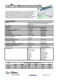 Melaminschaumstoff-Platten - Top-Plast