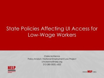 State Policies Affecting UI Access for Low-Wage Workers