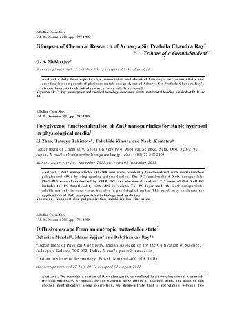 Abstracts of Journal of Indian Chemical Society Vol.88, December ...