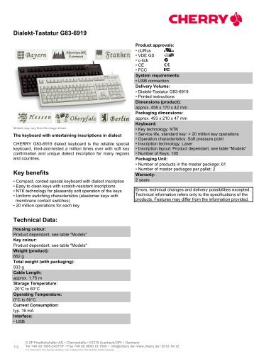 Dialekt-Tastatur G83-6919 - Cherry