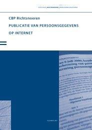 Richtsnoeren Publicatie Persoonsgegevens op Internet - College ...