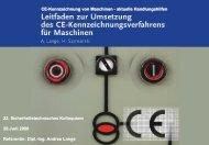 CE-Kennzeichnung von Maschinen - Aktuelle Handlungshilfen