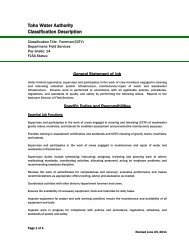 Toho Water Authority Classification Description